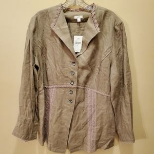 NWT J. Jill Linen Jacket With Lace Details
